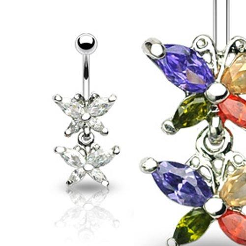 Schmetterlinge mit Kristallen Bauchnabel Piercing Schmuck