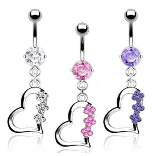 Herz mit drei Blumen Bauchnabel Piercing Schmuck