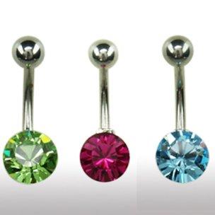 Bauchnabel Piercing Schmuck mit großem Kristall