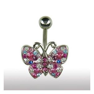 Bauchnabel Piercing Schmuck Schmetterling Multifarbe Rosa