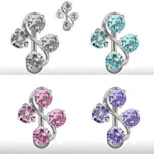 Bauchnabel Piercing Schmuck S-Form mit 4 Kristallen Ornament