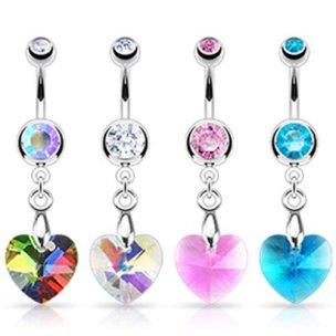 Herz Anhänger großer Kristall Bauchnabel Piercing