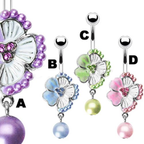 Blume mit Perle Bauchnabel Piercing Schmuck