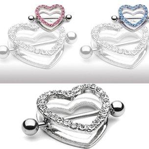 Brustpiercing Schmuck Herz viele Kristalle