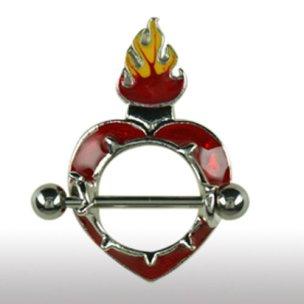 BRUSTPIERCING Schmuck Schild Herz mit Flamme Rot oder Pink