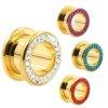 Flesh Tunnel gold mit Multistrass kristalle