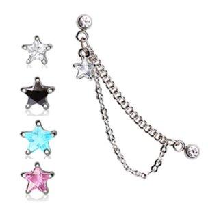 Stern Kristall mit Kette Helix Ohr Piercing